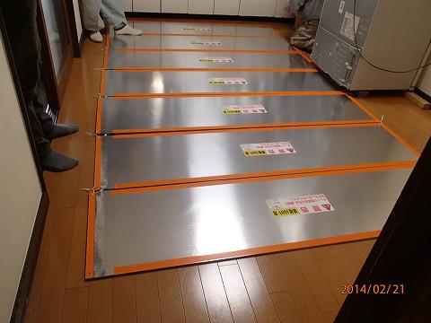 床暖房パネル張り