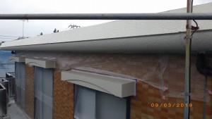 外壁中塗り状況(2階庇)